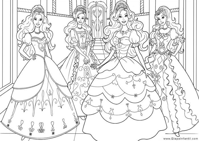 Dibujos para imprimir y colorear princesas Barbie
