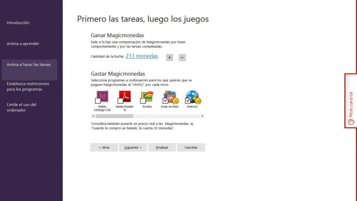 Control parental de Magic Desktop (Windows para niños)