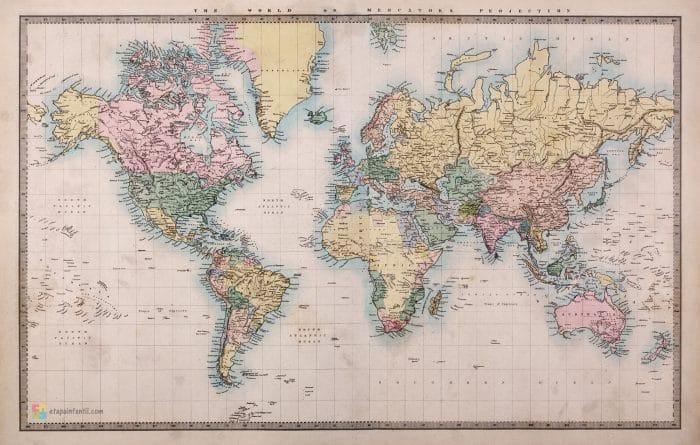 Mapamundi antiguo (año 1860 d.C.) para imprimir