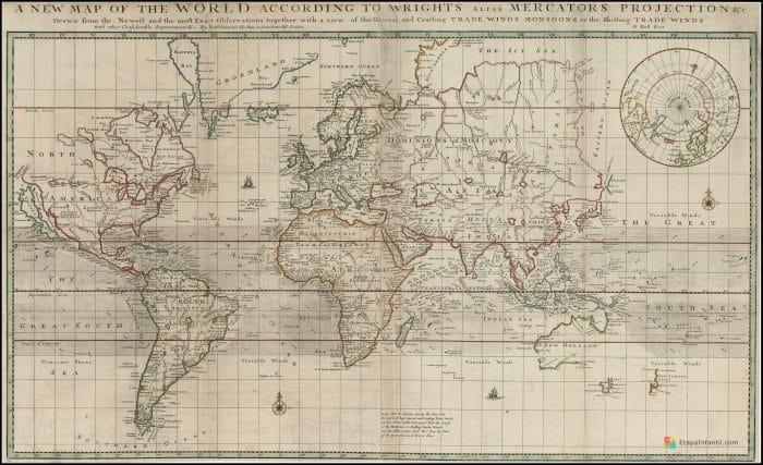 Mapamundi antiguo (año 1700 d.C.) para imprimir