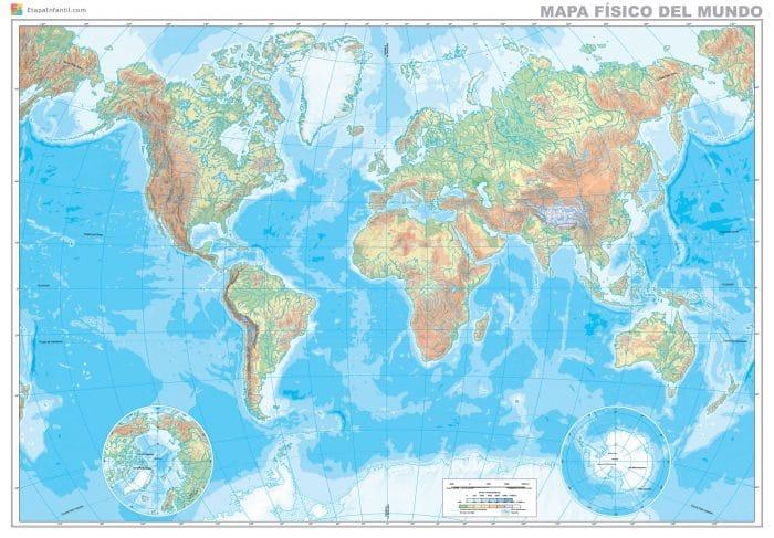 Mapa físico del mundo para descargar e imprimir