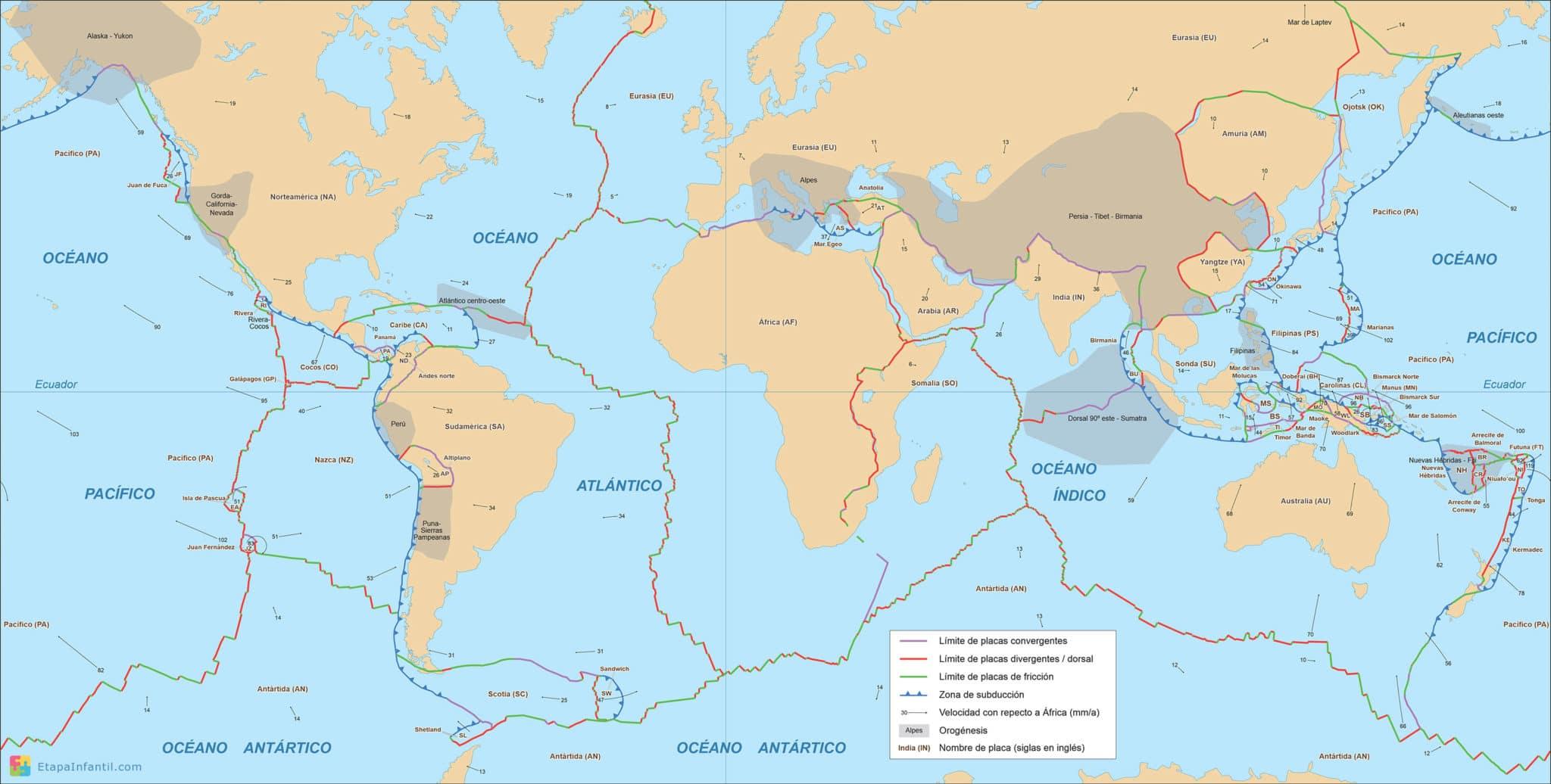 Mapamundi geológico para imprimir