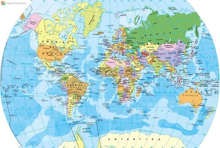 Mapa del globo terraqueo para imprimir