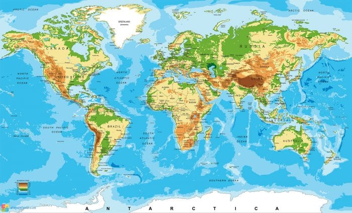Mapamundi terrestre para imprimir