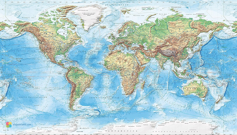 Mapamundi topográfico para imprimir