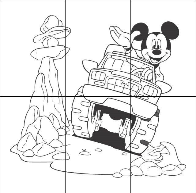 Puzzle infantil para imprimir, colorear y recortar de Mickey Mouse