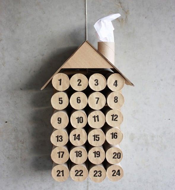 Calendario de AdvientoManualidades navideñas con rollos de papel higiénico