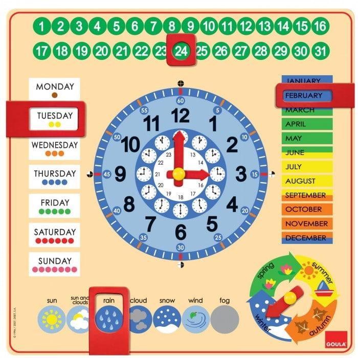 Juguete educativo para niños y bebés Reloj y calendario en inglés