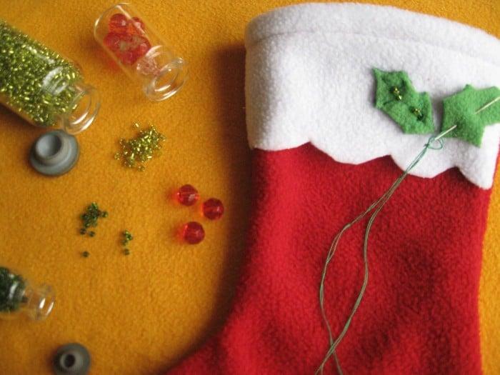 Manualidad de decoración Navideña de Bota navideña con fieltro