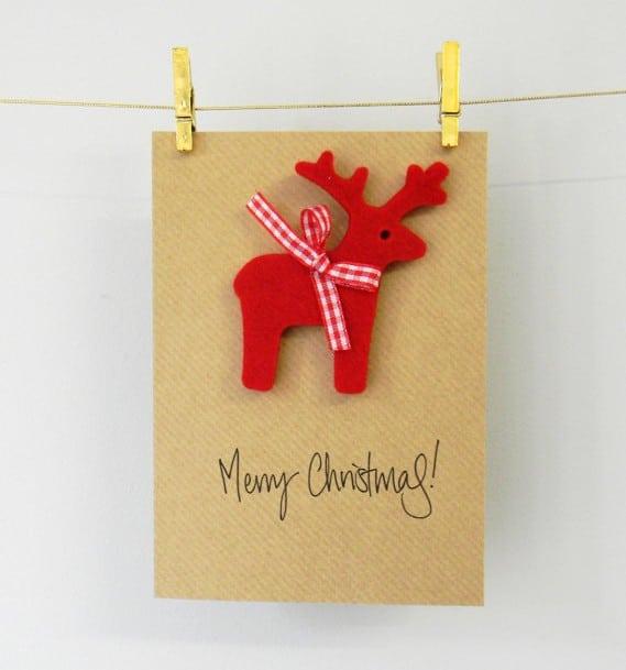 Manualidad infantilPostal de Navidad con reno de fieltro