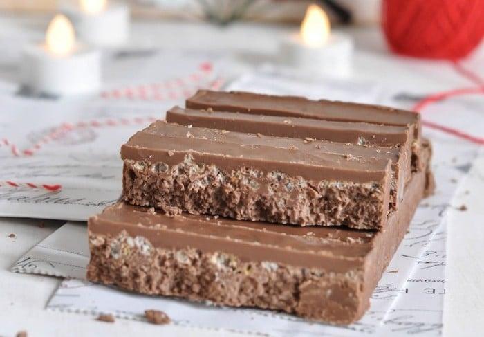 Menú de Nochevieja Postre - Turrón de chocolate con arroz inflado