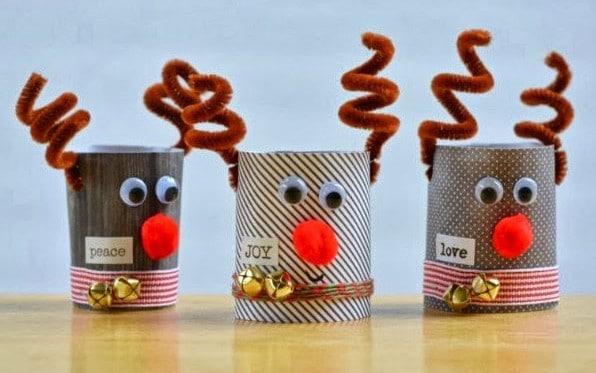 RenosManualidades navideñas con rollos de papel