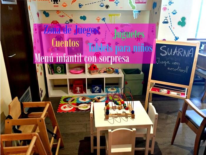Zona infantil en restaurante Suarna, en Barcelona, Cataluña