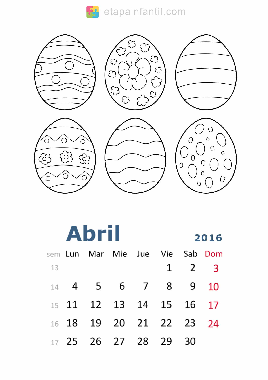 Calendario De 2016 Para Imprimir Y Colorear Etapa Infantil
