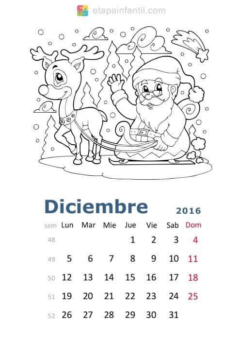 Colorear-Diciembre-2016-Calendario-para-imprimir-y-colorear - Etapa ...