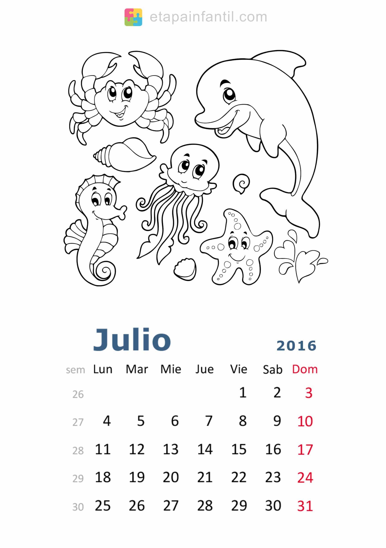 Calendario de 2016 para imprimir y colorear - Etapa Infantil