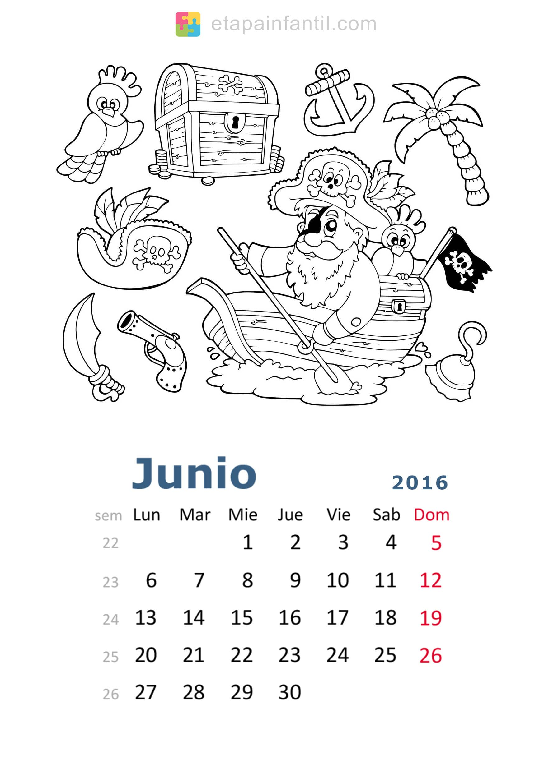 Calendario de 2016 para imprimir y colorear etapa infantil for Calendario junio 2016 para imprimir