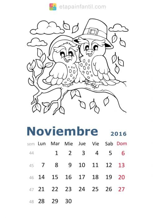 Colorear-Noviembre-2016-Calendario-para-imprimir-y-colorear - Etapa ...