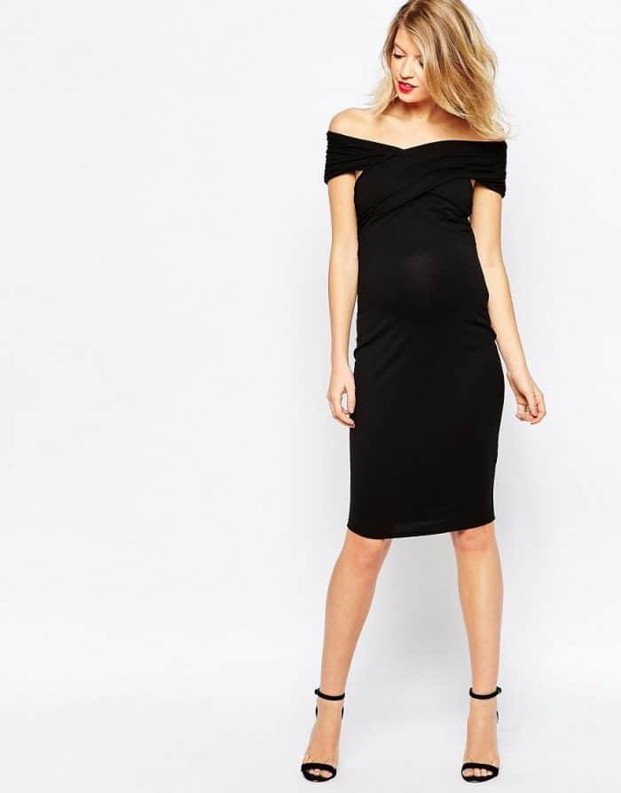 Vestido ajustado a media pierna con hombros retorcidos de ASOS Maternity