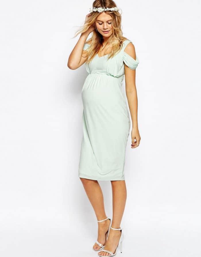 Vestido de tubo a media pierna con hombros drapeados al descubierto de ASOS Maternity WEDDING