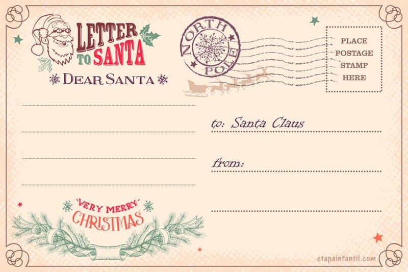 Carta postal Santa Claus imprimir