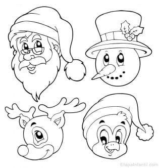 Dibujo de Navidad de Papá Noel, reno, muñeco de nieve y pingüino