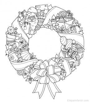 Dibujo navideño para colorear de Corona de Navidad