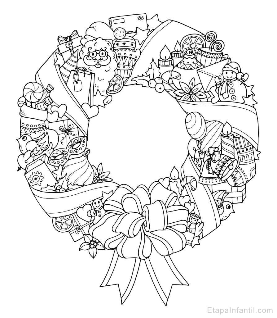 Dibujo navide o para colorear de corona de navidad etapa - Dibujos postales navidad ninos ...