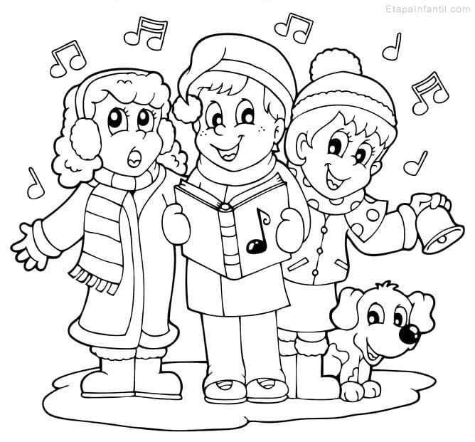 Dibujo navideño para colorear de Niños cantando villancicos