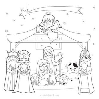 Dibujo del pesebre y los Reyes Magos