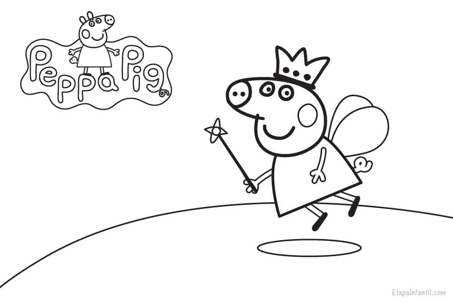 Dibujo Peppa Pig Hada para colorear  Etapa Infantil