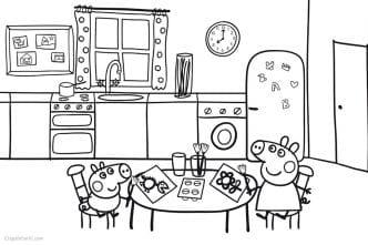 Dibujo Peppa Pig en cocina (casa) para imprimir y colorear