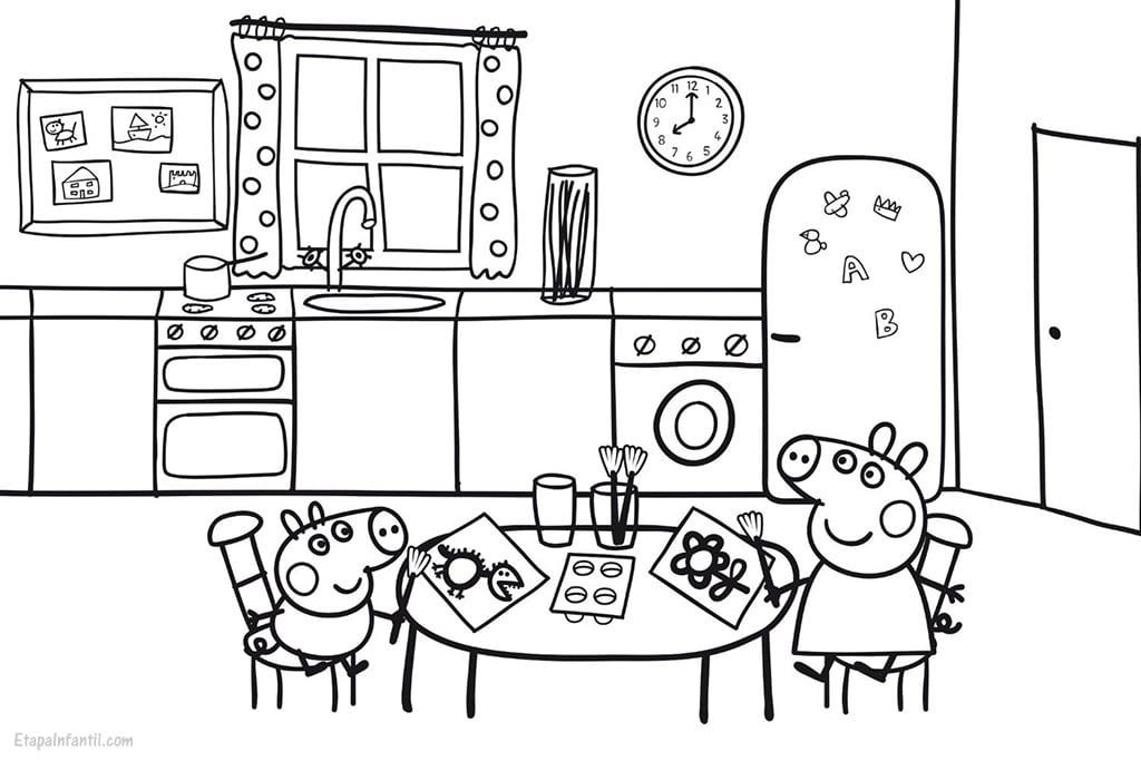 Dibujo peppa pig en cocina casa para imprimir y colorear for Dibujos de cocina
