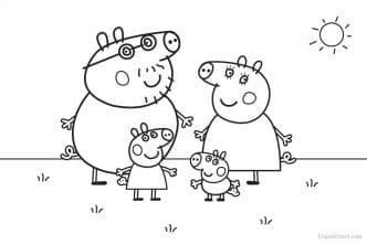 Dibujo Peppa Pig y familia para imprimir y colorear