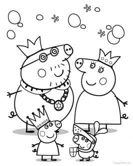 Dibujo Peppa Pig y sus amigos y familia para imprimir y colorear