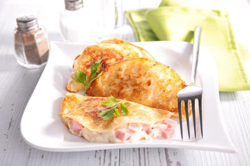 Receta rápida de Crepes rellenas de queso y beicon