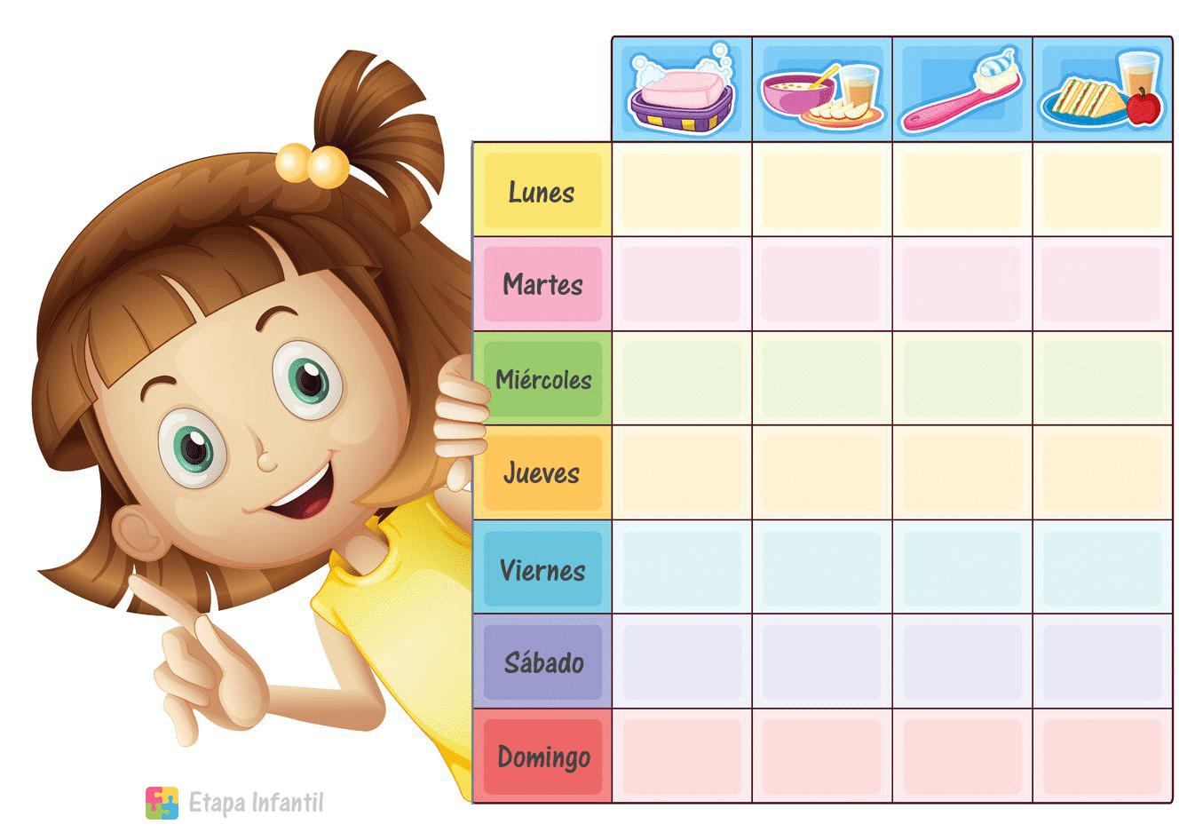 Tabla de rutinas para niños en el hogar - Etapa Infantil