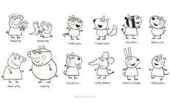 Dibujo Peppa y George Pig, Pedro Pony, Freddy Volpe, Zoe Zebra, Danny Cane, Mamá y Papá Pig, Suzy Pecora, Emily Elefante, Rebecca Coniglio y Candy Gatto para colorear