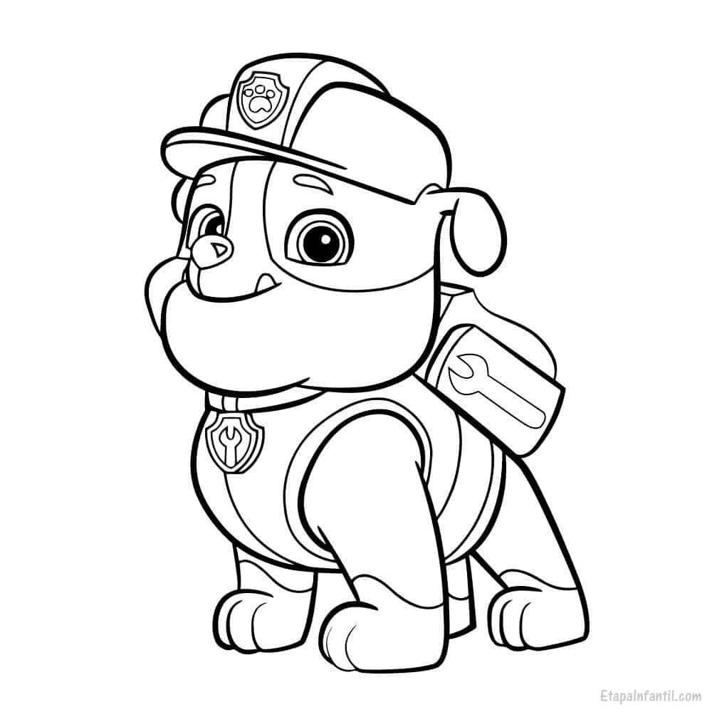 Dibujo para colorear de La Patrulla Canina: Rubble - Etapa Infantil