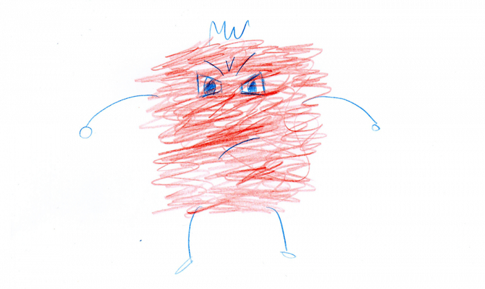 Dibujo rabieta caja rabia