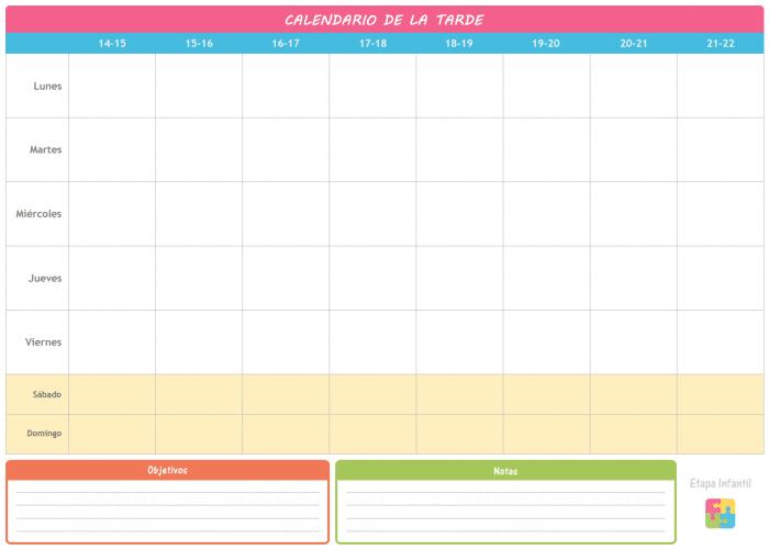 Calendario de la tarde