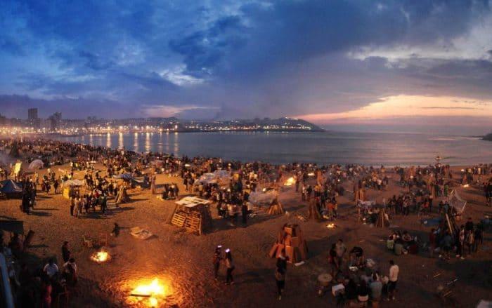Verbena de San Juan en playa de Orzán,La Coruña