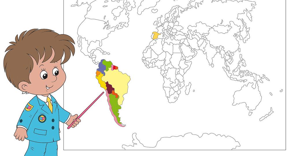 Mapamundi para colorear - Etapa Infantil