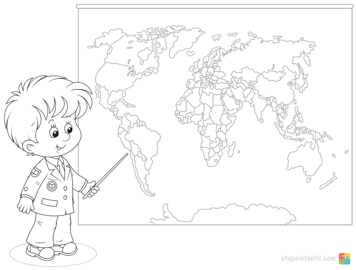Colorear NiÑos Del Mundo: Mapamundi Para Colorear