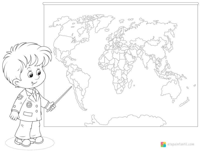 Dibujo de mapamundi para imprimir y colorear para niños