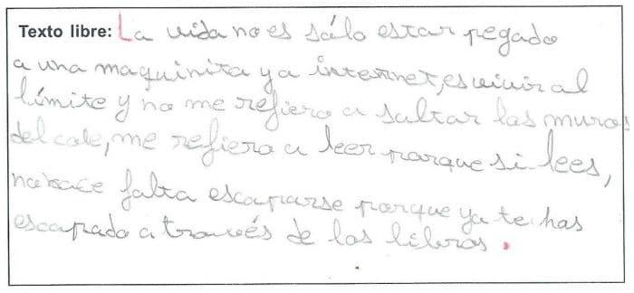 Qué es la lectura según Daniela de 7 años