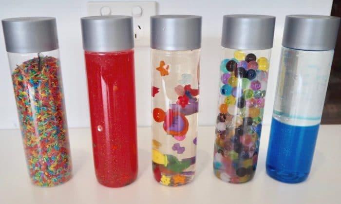 Botellas sensoriales liquida bolas