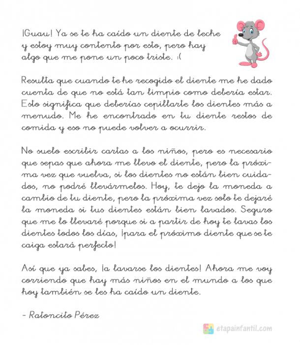 Carta del Ratoncito Pérez para imprimir