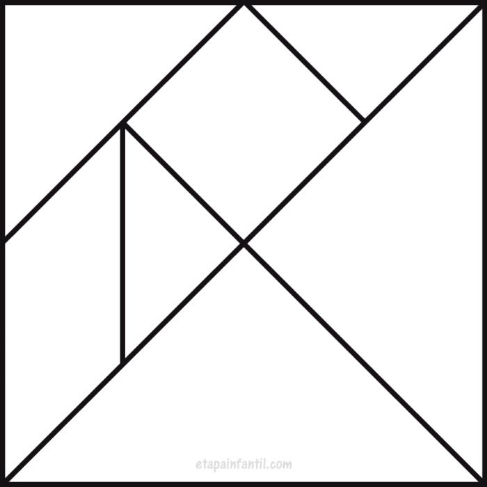 Tangram en blanco y negro para colorear