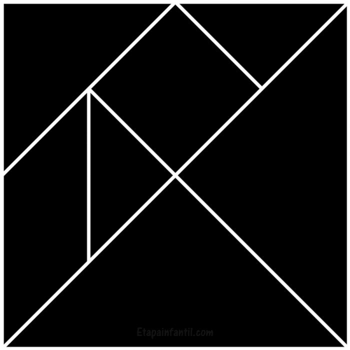 Tangram para imprimir en blanco y negro